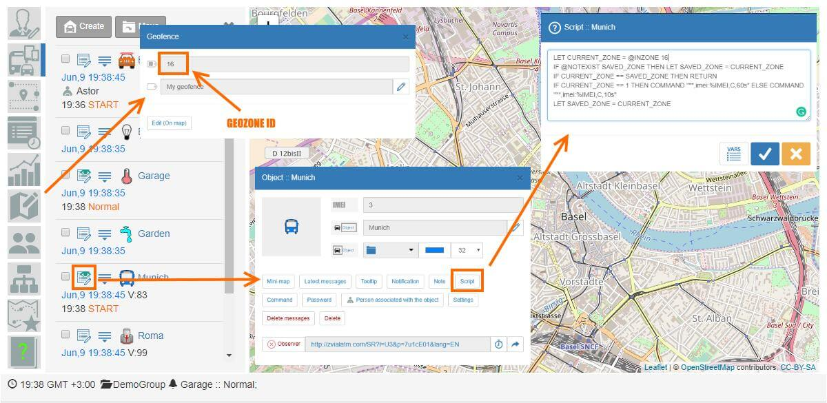 Get geofence ident and create a script