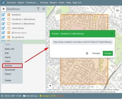 Share a link to the selected geofence