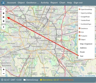 Location of map tool link
